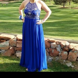 Dresses & Skirts - Blue halter prom dress worn once!
